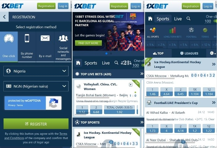 1xBet app mobile web page